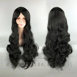 Long Hair Oblique Bangs Australia - 80CM wig cosplay female universal long curly hair female black oblique bangs anime wig