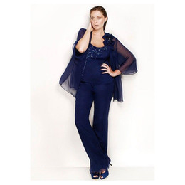 $enCountryForm.capitalKeyWord UK - Dark Navy Beaded Mother Of The Bride Pant Suits Scoop Neck Three Pieces Wedding Guest Dress Plus Size Chiffon Mothers Groom Dresses