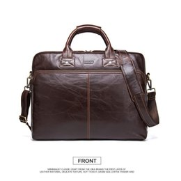 luxury briefcase man Canada - New Classic Men Business Briefcase Bag Cowhide Genuine Leather Men's Brand Top Quality Shoulder Bags Designer Male Luxury Bags