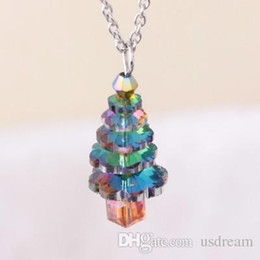 Christmas Pendant Rhinestone Australia - Crystal Christmas Tree Necklace Rainbow Tree Pendant Fashion Jewelry for Women Kids Gift Will and Sandy Drop Ship 380091