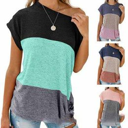 $enCountryForm.capitalKeyWord Australia - Boutique Women clothes T-shirts Loose Color Block Side Twist T-shirt Tops Short sleeve Hot selling China women clothing supplier