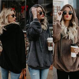 Wholesale fluffy hoodies women online – oversize Women Winter Hooded Jackets Women Loose Pullover Fluffy Coat Hoodies Jacket Warm Tops