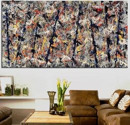 "graffiti art canvas prints Australia - Jackson Pollock ""Blue poles"" High Quality Wall Art Handpainted & HD Print Abstract Graffiti Art Oil painting Home Decor On Canvas jk14"