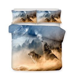 China 3D Bedding Set wolf Print Duvet cover set lifelike bedclothes with pillowcase bed set home Textiles cheap 3d print wolf bedding sets suppliers