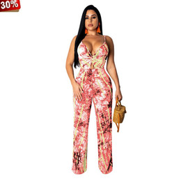 v neck jumpsuits plus size UK - Plus Size Jumpsuit Backless Rompers Women Playsuit Club Summer Spaghetti Strap Tie Up V Neck Straight Long Jumpsuit Party Rompes