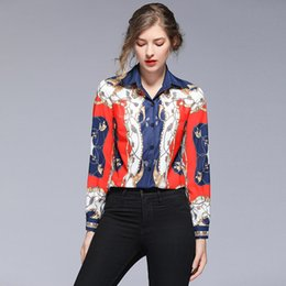women sexy silk blouses Australia - Luxury Court-Style Casual Blouse Long Sleeve Women Spring Autumn Winter Sexy Elegant Runway Baroque Print Shirt Ladies Plus Size Tops