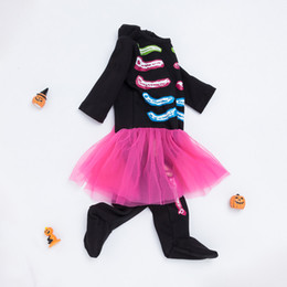 baby girls black dress set Australia - Halloween Newborn Infant Black Bones Rompers skull Dresses 0-24 Month Baby Girls Cotton Long Sleeves Jumpsuit +Headband =2PCS Set