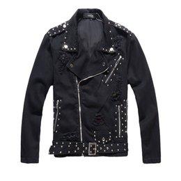 Black rivet jackets men online shopping - Designer Jacket Winter New Rivet Jacket Black Denim Top Patch Men s Jackets Slim Fit Brand Fashion Coat Asian Size M XL