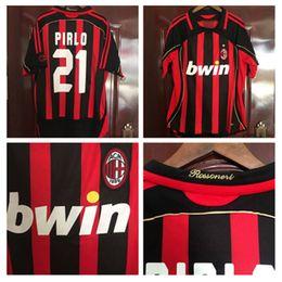 a3e068440 AC Milan 2006 2007 Pirlo Kaka Home Custom retro Soccer Jersey Inzaghi TOP  Thailand 06 07 football shirt