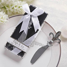 silver wedding giveaways Australia - 40pcs Fleur De Lis Butter Spreader Favors Wedding Gifts Party Event Keepsake Bridal Shower Anniversary Giveaways Festival Supplies