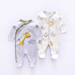 Baby Jumpsuit Wholesale Australia - Cartoon Animal Style Cotton Babies Bodysuit Boys Jumpsuits Newborn Infant Clothes Long Sleeve Baby Jumpsuit 2pieces lot Q190520