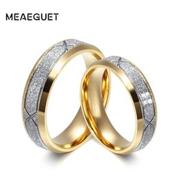 $enCountryForm.capitalKeyWord NZ - wedding Meaeguet Fashion Gold-color Lover's Wedding Sand Blasted 316L Stainless Steel Rings For Engagement Anel Jewelry