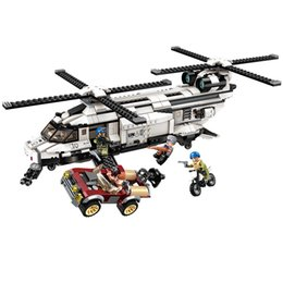 diy boys toys UK - 648pcs Children's Educational Building Blocks Toy Compatible City Military Gunship Model Diy Figures Bricks Boy Gifts MX190731