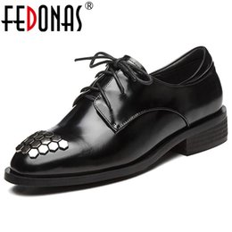 2777b7f308ae8 FEDONAS Punk Black Rivets Women Pumps Lace Up Spring Night Club Party Shoes  Woman Genuine Leather Qulaity Brogue Shoes Pumps