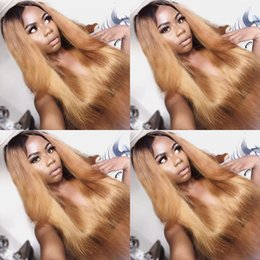 $enCountryForm.capitalKeyWord Australia - Glueless Lace Front Human Hair Wigs #1bT27 For Black Women Brazilian Virgin Hair Full Lace Wig Two Tone Ombre color with baby hair