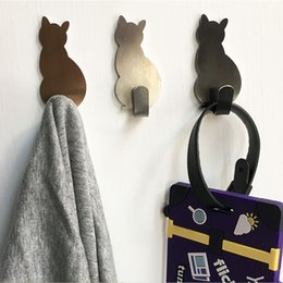 $enCountryForm.capitalKeyWord Australia - wholesale 2Pcs Self Adhesive Cat Pattern Hooks Storage Holder for Bathroom Kitchen Stick In Wall Hanging Door Clothes Towel