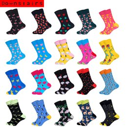multi color socks Australia - Downstairs Breathable Men Socks 21 Color Combed Solid Street Style Penguin Smiling Banana Originality Pattern Crew Happy Socks