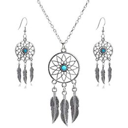 Wholesale Bohemia Feather Dream Catcher Dreamcatcher Drop Earrings Alloy For Women Jewelry Charm Necklace Handmade Ear Hook Necklaces B987F Y