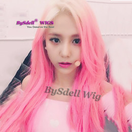 unicorn wig UK - Long synthetic Pastel blonde ombre peach Pink Color Hair Mermaid Cosplay Party Wigs ins style fashion Unicorn Wig