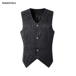 $enCountryForm.capitalKeyWord Australia - Puimentiua 2019 Mens Steampunk Waistcoat Gothic Victorian Vest Autumn Summer Fashion Male Slim Fit Solid V Neck Uniform Outwear