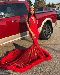 $enCountryForm.capitalKeyWord Australia - Red Halter Feather Mermaid Prom Dresses Sequined Bottom Appliques Backless Celebrity Dress Sweep Train Africa Gowns for Black Girls 2019