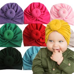 kids cotton headscarf NZ - Baby headscarf Baby hats caps with knot decor kids hair accessories Turban Knot Head Wraps Children Winter Spring beanie 11 color free DHL