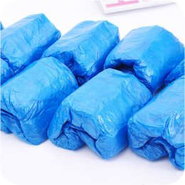 plastic carpets UK - Plastic Waterproof Disposable Shoe Covers Rain Day Carpet Floor Protector Blue Cleaning Shoe Cover Overshoes For Home T2I51068