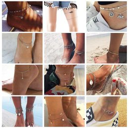Discount vintage plastic figures - Vintage Design Starfish Turtle Anklets For Women Handmade Beaded Ankle Bracelet Foot Jewelry bracelet cheville femme 20