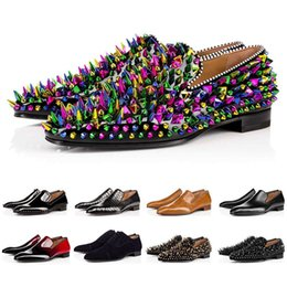 Wholesale With Box Luxury Bottom Designer Red Bottoms Studded Spikes Brand Mens Dress Shoes Leather Men Party Wedding Lover sports sneakers 39-47