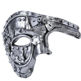 Carnival Costumes for men online shopping - Men Costume Mask Vintage Steampunk Half Face Halloween Party Masquerade Mask for Male Venetian Costumes Carnival