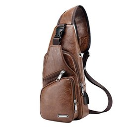 $enCountryForm.capitalKeyWord NZ - Laamei Men Crossbody Bags Messenger Leather Shoulder Bags Chest Bag Usb With Headphone Hole Designer Package Back Pack