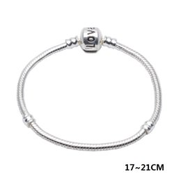 3mm silver bangle online shopping - Snake Chain Link Bracelet Bangle Fit Pandorx Beads Love Bracelet MM CM European Charm for Women DIY Silver Plating Jewelry Accessories