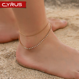 layers anklet chain 2019 - Double Layer Rhinestone Snake Bone Chain Anklet Statement Feet Bracelet for Women Gold Silver Metal Simple Summer Beach