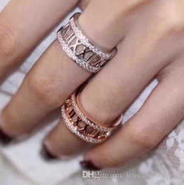Gold 18k Pure Australia - S925 pure silver Hollow Roman Numbers Ring with diamonds Fashion Silver 18K Rose Gold and platinum plated band Rings Jewelry For Women and