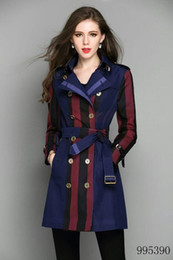 Double Shirt Designs Australia - Classic lattice long slim trench coat blue plaid Double Breasted Coat Jackets Trench Coats Evening Wear Dresses Blouses Shirts T-shirts