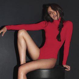 $enCountryForm.capitalKeyWord Australia - 2019 Fashion Sexy Bodysuits Women Long Sleeve High collar Autumn winter Slim Casual Jumpsuit Plus Size Ladies Combinaison Femme
