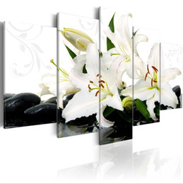 Painting Lily Australia - 5PCS Set Abstract Stone Lily Art Print Frameless Canvas Painting Wall Picture Home Decoration No Frame