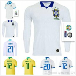 Discount pele jerseys - Top Thai quality 2019 cop america brazil soccer jersey 19 20 PAULINHO home yellow away White PELE D.COSTA G.JESUS 2019 B