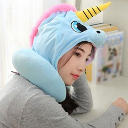 airplane sleeping pillow UK - Travel Pillow Cartoon Neck Pillow Office Airplane Hooded Neck Cushion For Sleep Outdoor Travel