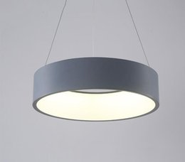 China Modern Acrylic Ring LED Lamp Pendant Light White Grey Round Suspension Lamp For Parlor Study Simple Clothing Home lighting F060 suppliers