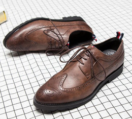 wingtip brown leather shoes NZ - Mens casual shoes wingtip black leather formal wedding dress derby oxfords flat shoes tan brogues shoes for men