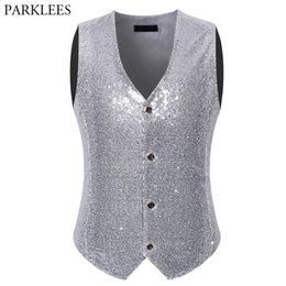 Clever Mens Wedding Stage Show Gold Shiny Sequins Waistcoat Blue Black Silver Pink Rose Yellow Suit Vest Gilet Homme Classic Vests Men's Clothing