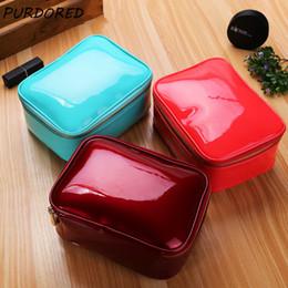 $enCountryForm.capitalKeyWord Australia - wholesale 1 pc Pure Color Cosmetic Bag Patent Leather Women Zipper Make Up Female Travel Cosmetic Case