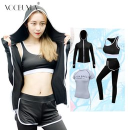 03dde652179 Voobuyla Women Yoga Set Fitness Zipper Hoodie Sport Bra Shirt Pants 4 Pcs  Sportswear Running Breathable Sports Suit Plus Size 3X