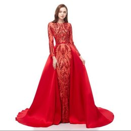 $enCountryForm.capitalKeyWord UK - Zuhair Murad 2019 Red Mermaid Prom Dresses Detachable Train Custom Made Celebrity Evening Gowns Illusion Long Sleeves Lace Sequin Party Gown