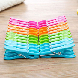 wholesale office clothes Canada - 24Pcs Set Travel Laundry Clothes Pins Hanging Pegs Clips Heavy Duty Clothes Pegs Plastic Hangers Racks Clothespins