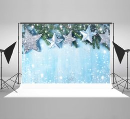 paint muslin backdrop Canada - Kate 7x5ft Microfiber Christmas Stars Photography Backdrops Rustic Blue Wooden Background Fir Tree Backdrop Winter Spots Bokeh Backgrounds