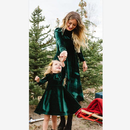 matching mommy girl clothes UK - Mommy And Me Velvet Dress 2019 Family Matching Clothes 2019 Autumn Dresses Baby Girl Long Sleeve Dresses