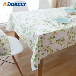print tablecloths wholesale Australia - ADQKCLY Pastoral Green Plants Rectangle Tablecloth 100% Cotton Printed Dining Table Cover for Kitchen Banquet Home Textile Cover