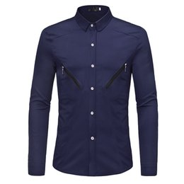 $enCountryForm.capitalKeyWord Australia - Men Clothes 2019 New Unique Double Zipper Design Men's Loose Fashion Solid Color Shirt Casual Dress Business Long-sleeved Shirt